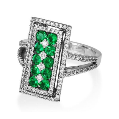 Nayum Emerald and diamond Ring in 18Ct. White Gold