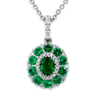 Nayum Emerald and diamond Pendant in 18Ct. White Gold