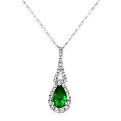 Nayum Emerald and diamond Pendant in 18Ct. White Gold