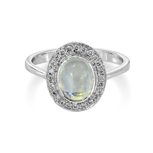 18Ct. White Gold Moonstone and Diamond Ring