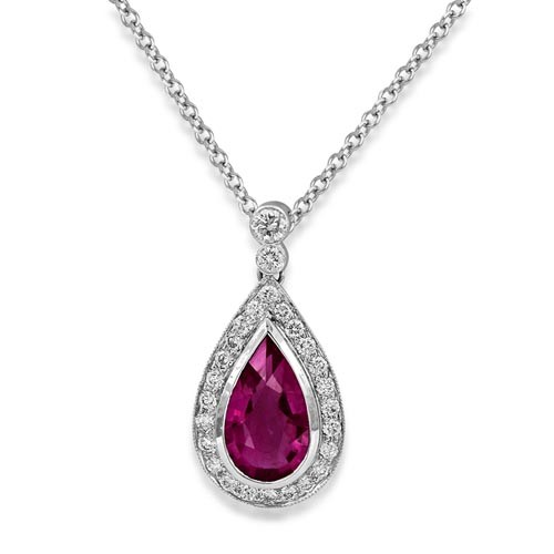 18Ct. White Gold Tourmaline and Diamond Pendant