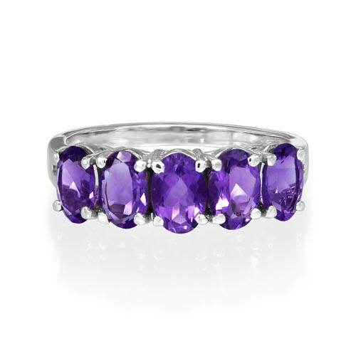 9Ct. Gold Amethyst and Diamond Ring