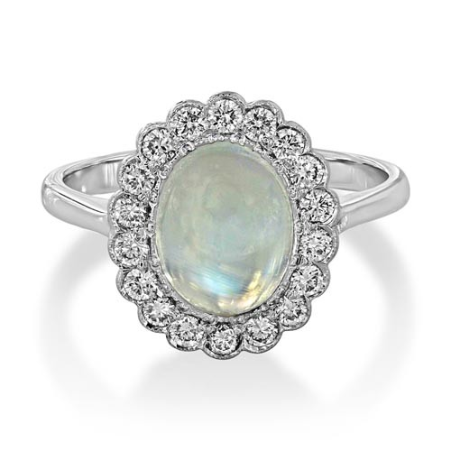 18Ct. White Gold Rainbow Moonstone and Diamond Ring