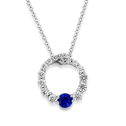 18Ct. White Gold Sapphire Pendant