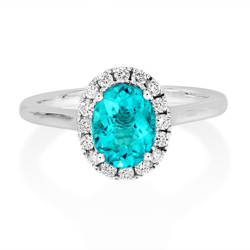 18ct. White Gold Apatite and Diamond Ring