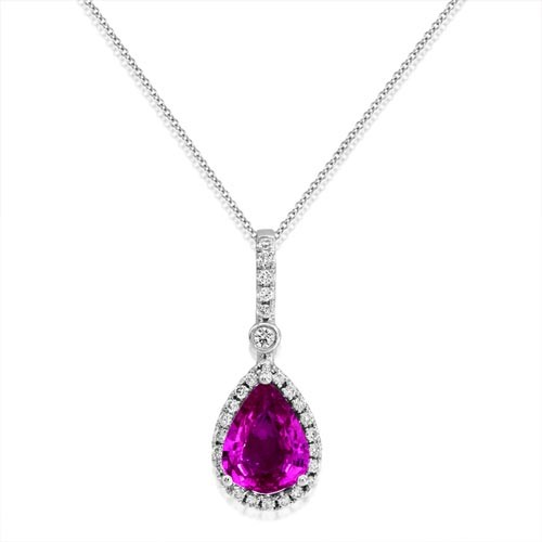 18Ct. Gold Pink Sapphire and Diamond Pendant