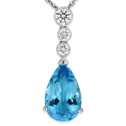 18Ct. White Gold Aquamarine and Diamond Pendant