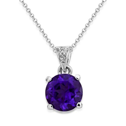 amethyst pendant 1.23ct. set with diamond in solitaire pendant smallest Image