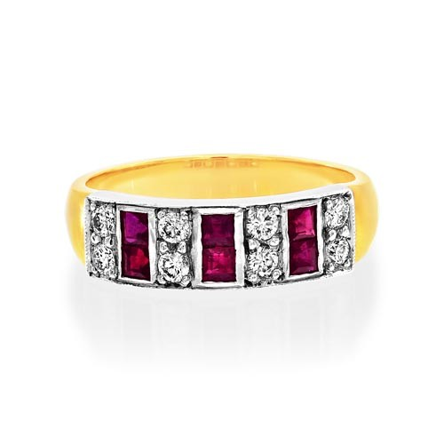 ruby ring 0.54ct. set with diamond in wide band ring smallest Image