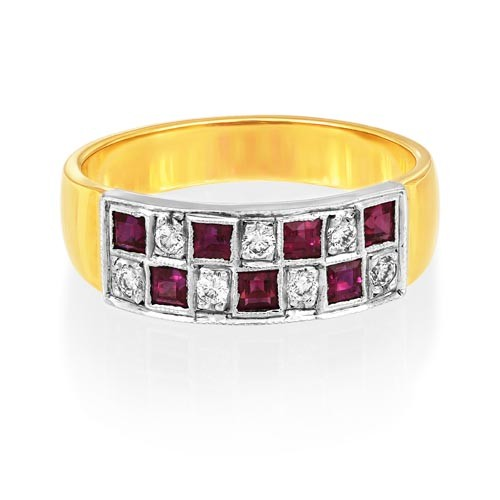 ruby ring 0.62ct. set with diamond in wide band ring smallest Image