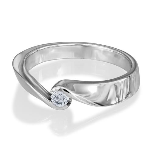 0.1ct. diamond ring set with diamond in solitaire ring smallest Image