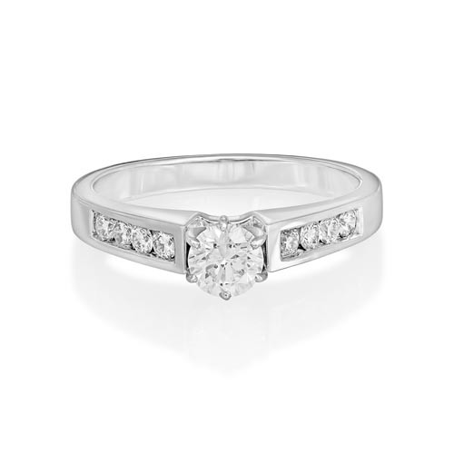 0.21ct. diamond ring set with diamond in shoulder set ring smallest Image