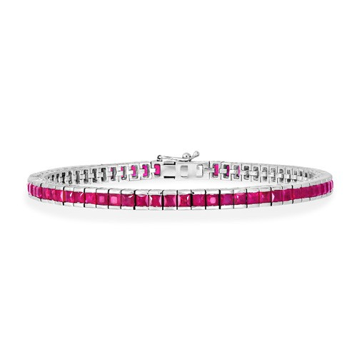 8.27ct. ruby bracelet set in tennis bracelet smallest Image
