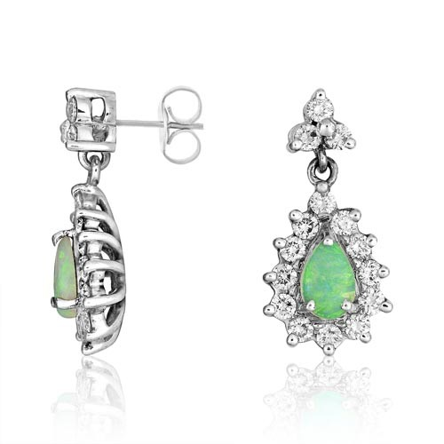 opal earrings 0.96ct. set with diamond in drop earrings smallest Image