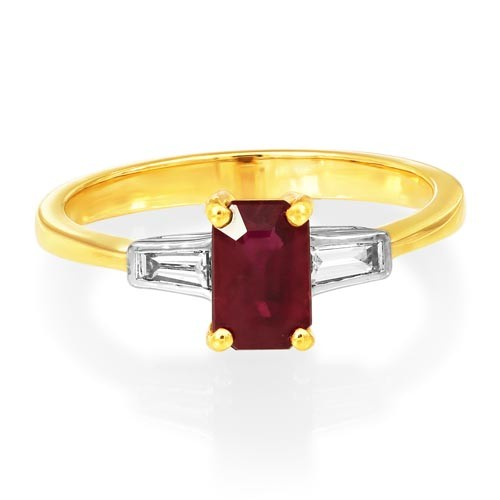 ruby ring 1.1ct. set with diamond in three stone ring smallest Image