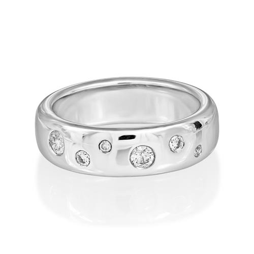0.31ct. diamond ring set with diamond in wide band ring smallest Image