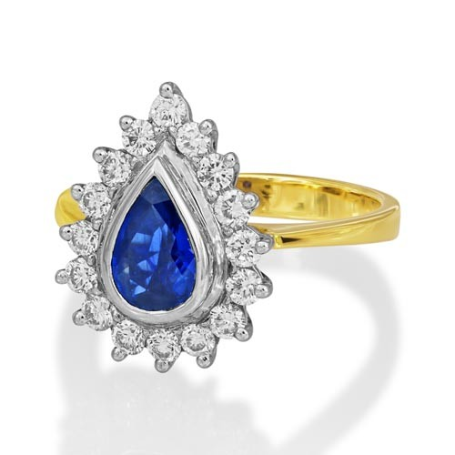 sapphire ring 1.21ct. set with diamond in cluster ring smallest Image
