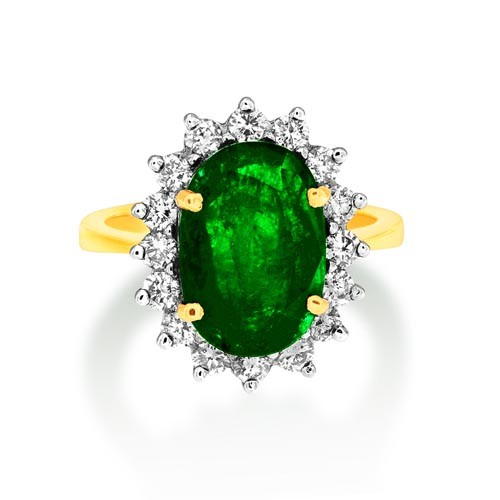 emerald ring 4.5ct. set with diamond in cluster ring smallest Image