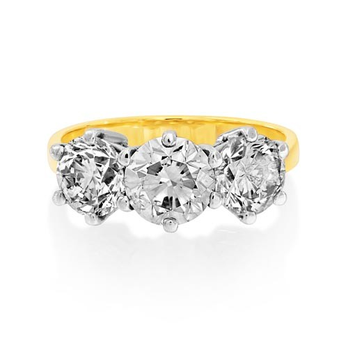 3.27ct. diamond ring set with diamond in three stone ring smallest Image