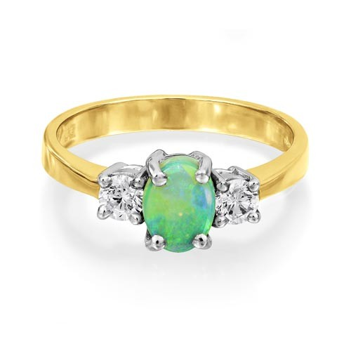 opal ring 0.47ct. set with diamond in three stone ring smallest Image