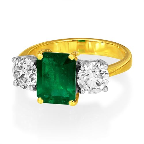 emerald ring 3.31ct. set with diamond in three stone ring smallest Image