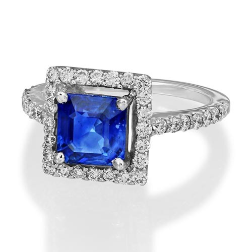 sapphire ring 1.43ct. set with diamond in cluster ring smallest Image