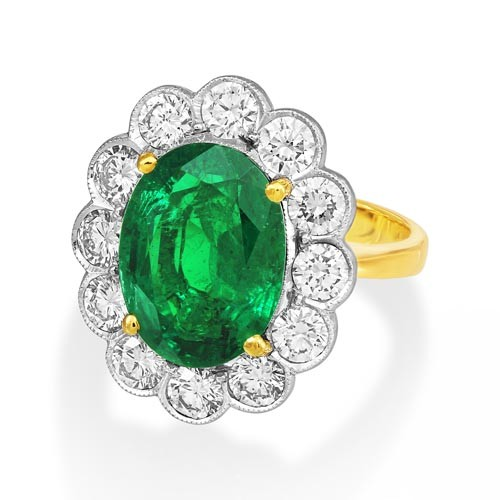 emerald ring 5.06ct. set with diamond in cluster ring smallest Image