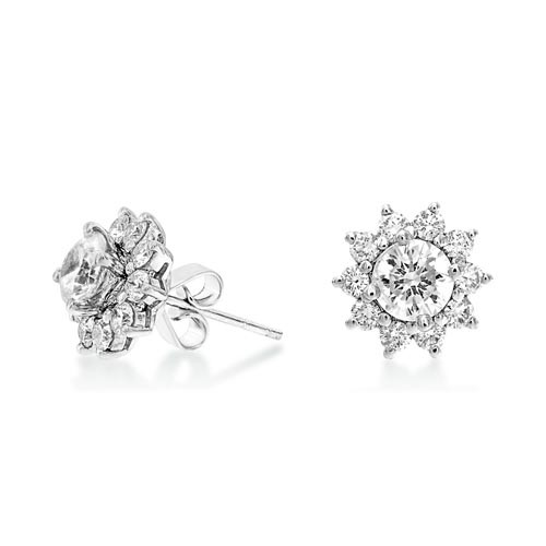 2.33ct. diamond earrings set with diamond in cluster earrings smallest Image
