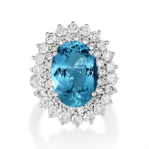 aquamarine ring 6.86ct. set with diamond in cluster ring smallest Image
