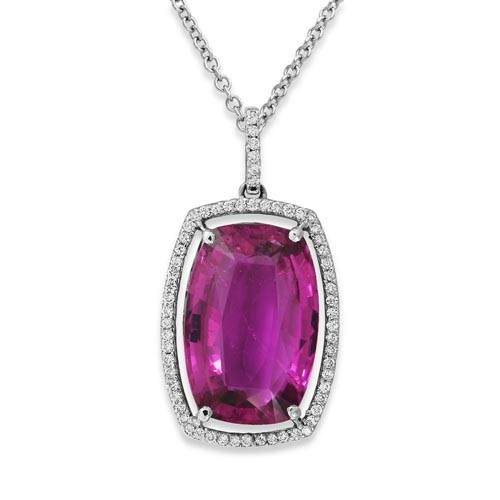 tourmaline pendant 13.71ct. set with diamond in cluster pendant smallest Image