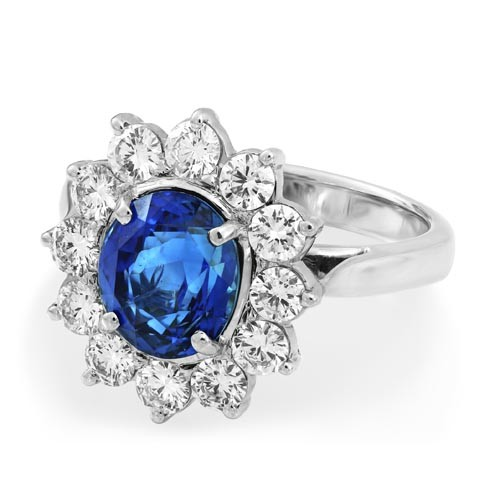 sapphire ring 3.16ct. set with diamond in cluster ring smallest Image
