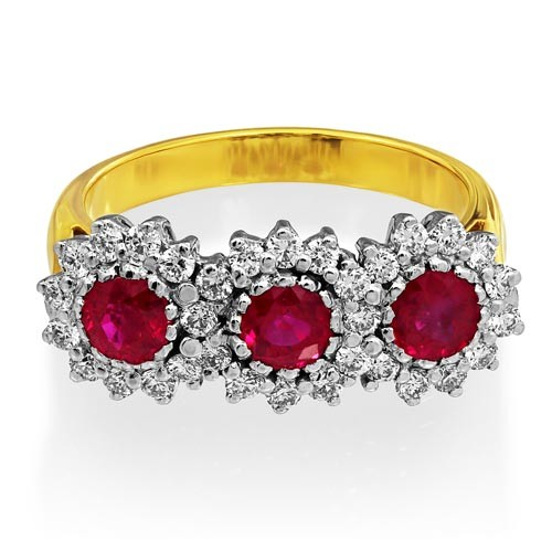 ruby ring 1.15ct. set with diamond in triple cluster ring smallest Image