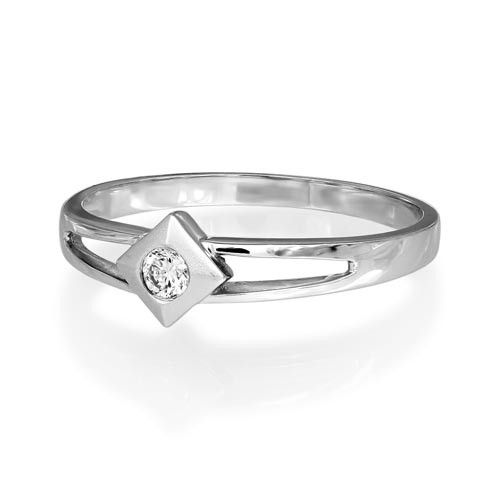 0.09ct. diamond ring set with diamond in solitaire ring smallest Image