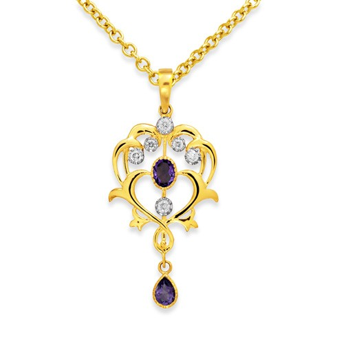 amethyst pendant 0.2ct. set with diamond in vintage pendant smallest Image