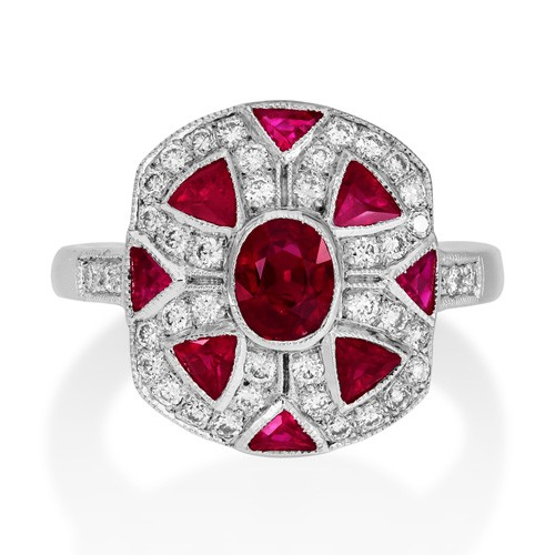 ruby ring 1.4ct. set with diamond in vintage ring smallest Image