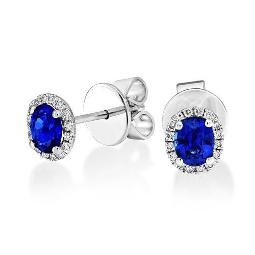 sapphire earrings 0.63ct. set with diamond in cluster earrings smallest Image