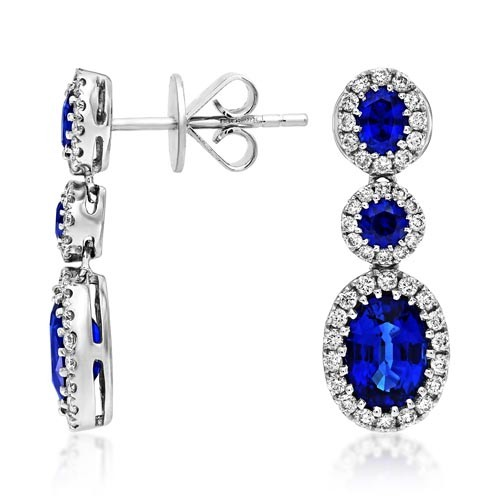 sapphire earrings 2.59ct. set with diamond in drop earrings smallest Image