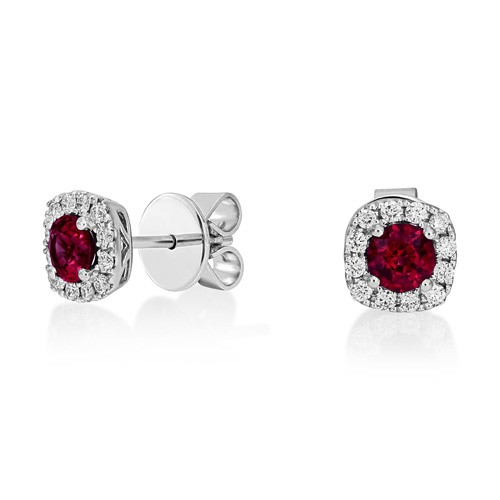 ruby earrings 0.17ct. set with diamond in cluster earrings smallest Image