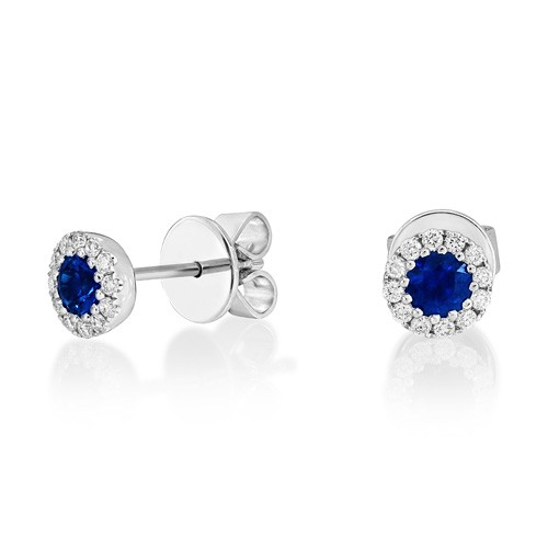sapphire earrings 0.41ct. set with diamond in cluster earrings smallest Image