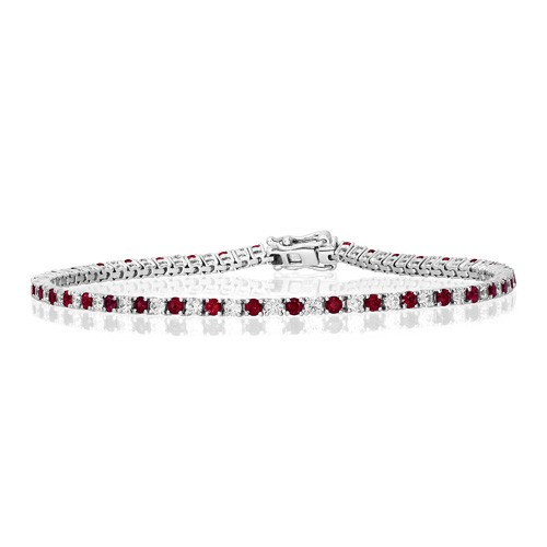 ruby bracelet 1.77ct. set with diamond in line bracelet smallest Image
