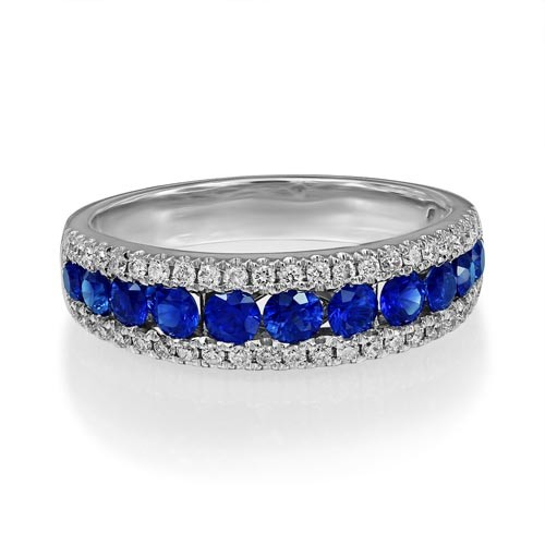 sapphire ring 0.94ct. set with diamond in wide band ring smallest Image