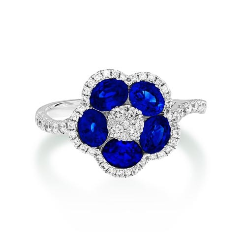 sapphire ring 1.5ct. set with diamond in cluster ring smallest Image