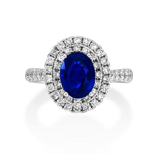 sapphire ring 1.69ct. set with diamond in cluster ring smallest Image