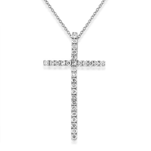 0.35ct. diamond pendant set with diamond in cross pendant smallest Image