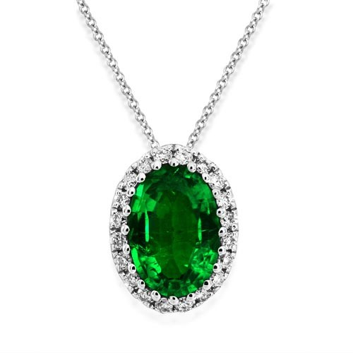 emerald necklace 0.41ct. set with diamond in cluster necklace smallest Image
