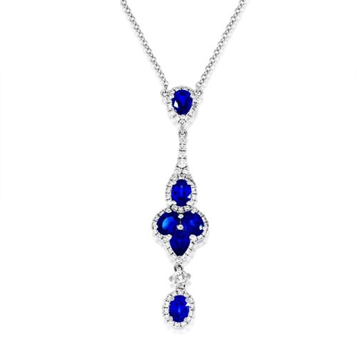 sapphire necklace 1.23ct. set with diamond in cluster necklace smallest Image
