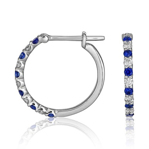 sapphire earrings 0.24ct. set with diamond in hoop earrings smallest Image