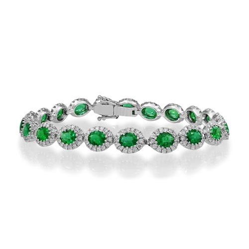 emerald bracelet 6.23ct. set with diamond in cluster bracelet smallest Image