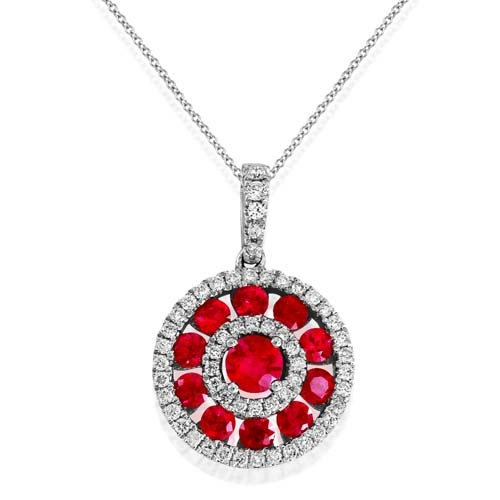 ruby pendant 0.83ct. set with diamond in cluster pendant smallest Image