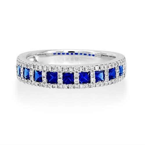 sapphire ring 0.73ct. set with diamond in wide band ring smallest Image